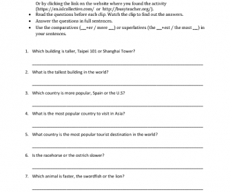 Movie Worksheet:World Knowledge Quiz (Comparatives and Superlatives)