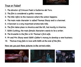 Movie Worksheet: Questions on Crimson Peak (2015)