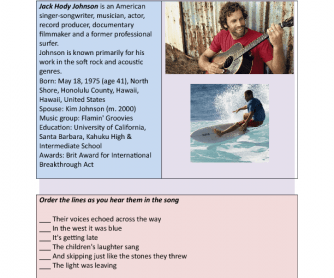 Song Worksheet: Constellations by Jack Johnson
