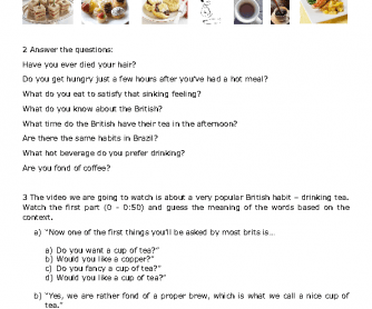 Movie Worksheet: Britain - a Tea Drinking Nation