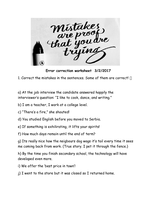 89 FREE Correcting Mistakes Worksheets – Editing Worksheets