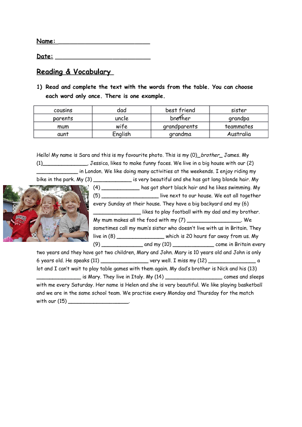 346 free familyfriends worksheets reading comprehension vocabulary exercise family members ibookread