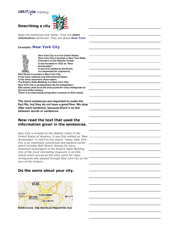 writing worksheets writing iv writing about your city