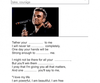 Song Worksheet: Love My Life by Robbie Williams