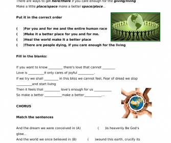Song Worksheet: Heal the World by Michael Jackson
