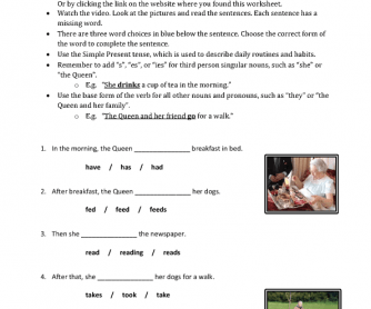 Movie Worksheet: Daily Routine of the Queen (Simple Present)
