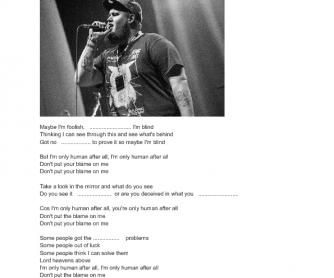 Song Worksheet: Human by Rag'n'Bone Man