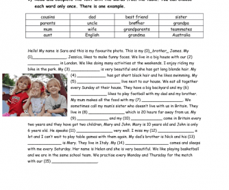 Reading Comprehension & Vocabulary Exercise (Family Members)