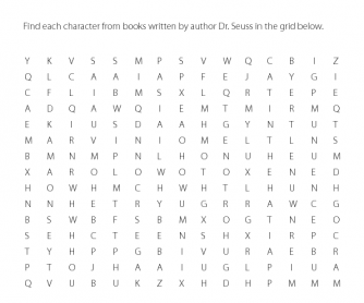 Dr. Seuss Word Search