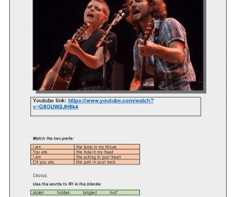 Song Worksheet: Golden State