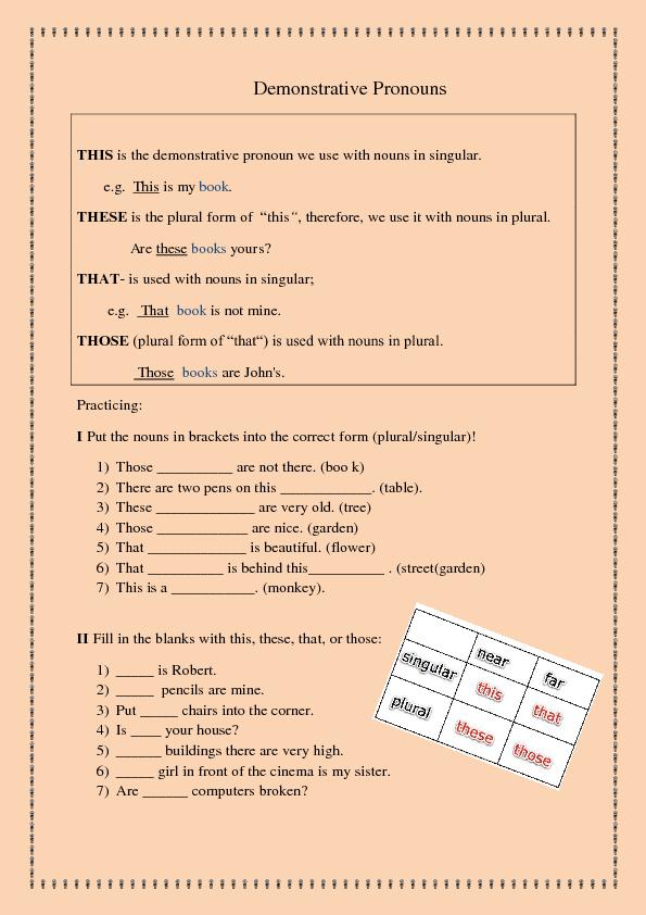 58 FREE Demonstrative Pronouns Worksheets