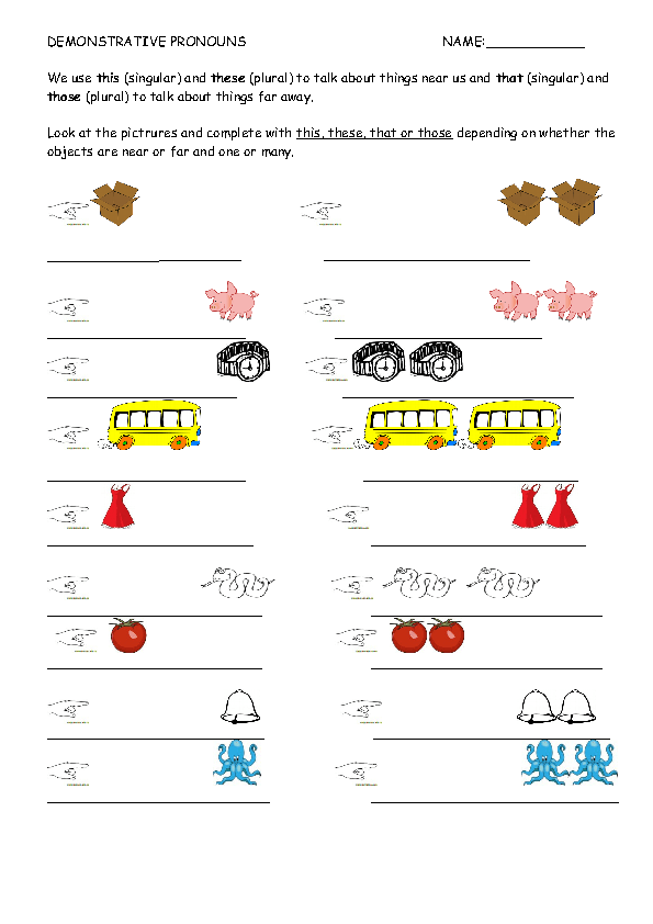 58 FREE Demonstrative Pronouns Worksheets – This That These Those Worksheets