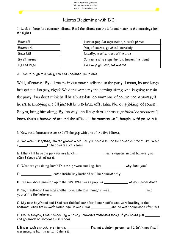 168 Free Idiom Worksheets