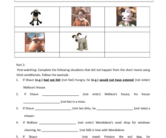Movie Worksheet: Wallace & Gromit- A Close Shave (3rd Conditionals Practice)