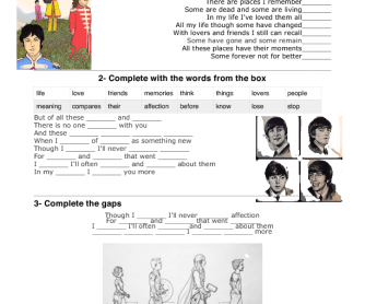 Song Worksheet: In My Life by The Beatles