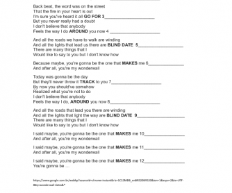 Song Worksheet: Wonderwall