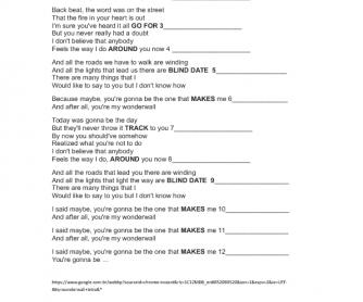 Song Worksheet: Wonderwall