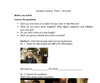 Movie Worksheet:London Central Episode 1