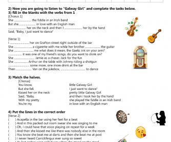 Song Worksheet: Galway Girl by Ed Sheeran