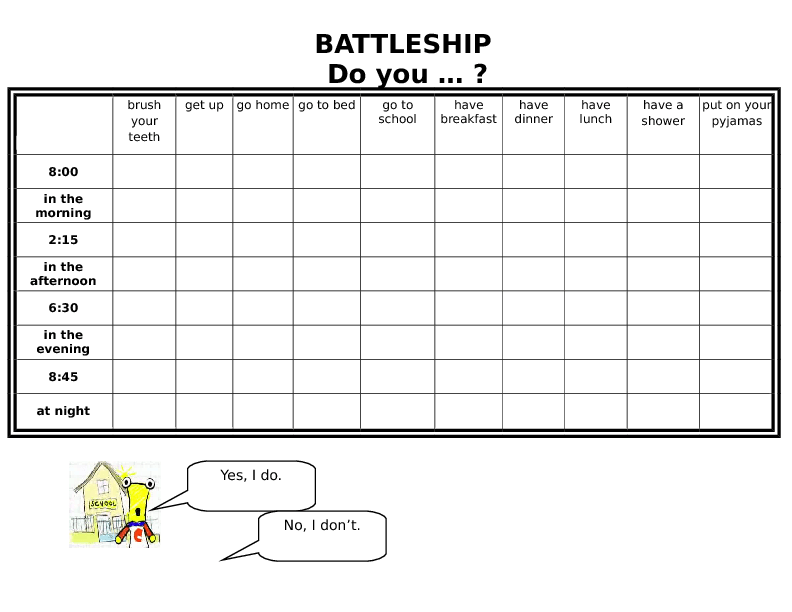 Battleship Do You Daily Activities Time Tiger 3 Unit 5