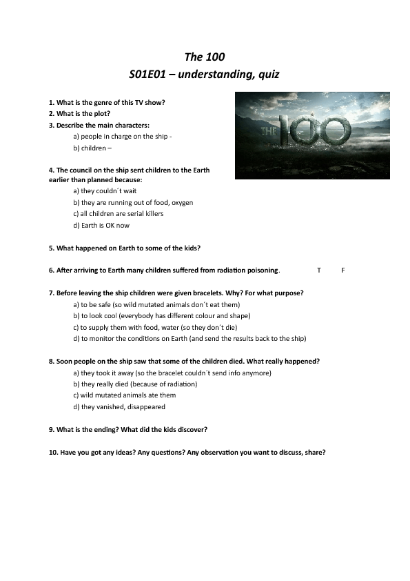 Movie Worksheet:The 100 (Series 01, Episode 01)