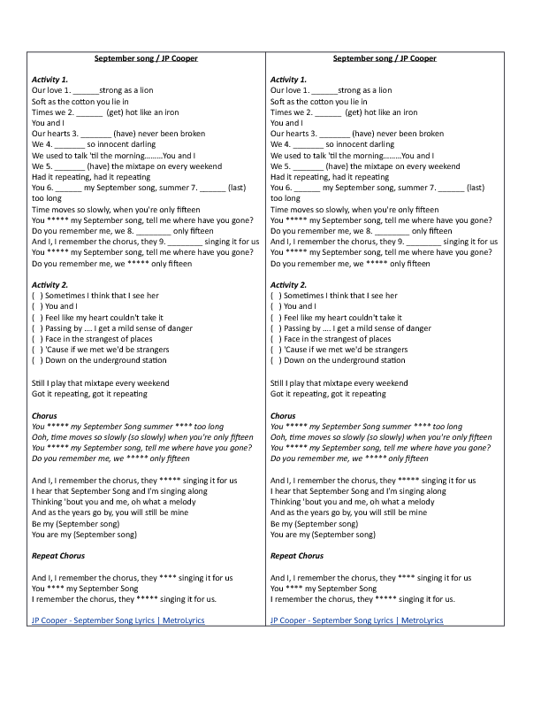 1785 FREE ESL Songs For Teaching English Worksheets – I Have a Dream Too Worksheet