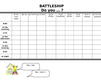 Battleship Do You...? Daily Activities Time Tiger 3 Unit 5