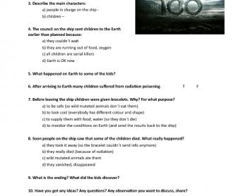 Movie Worksheet:The 100 (Series 01, Episode 01)