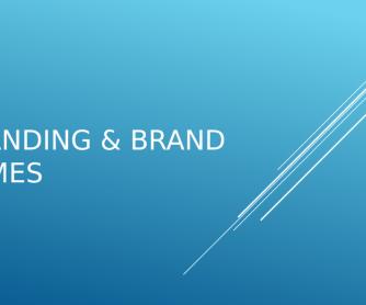 Branding and Brand Names