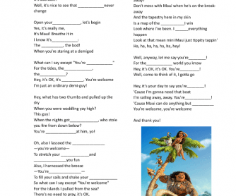 Song Worksheet You 39 re Wele Disney Moana