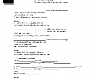 Song Worksheet: Way Back into Love