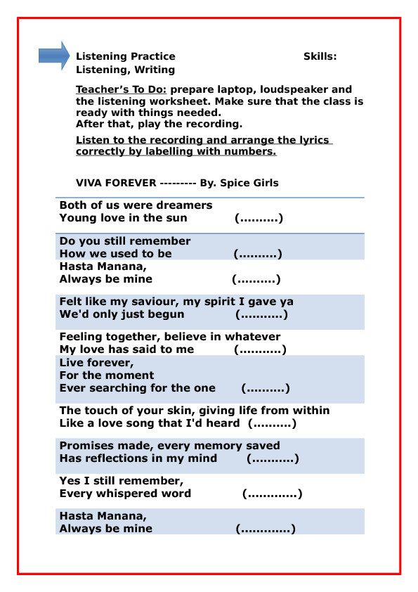 1,788 FREE ESL Songs For Teaching English Worksheets