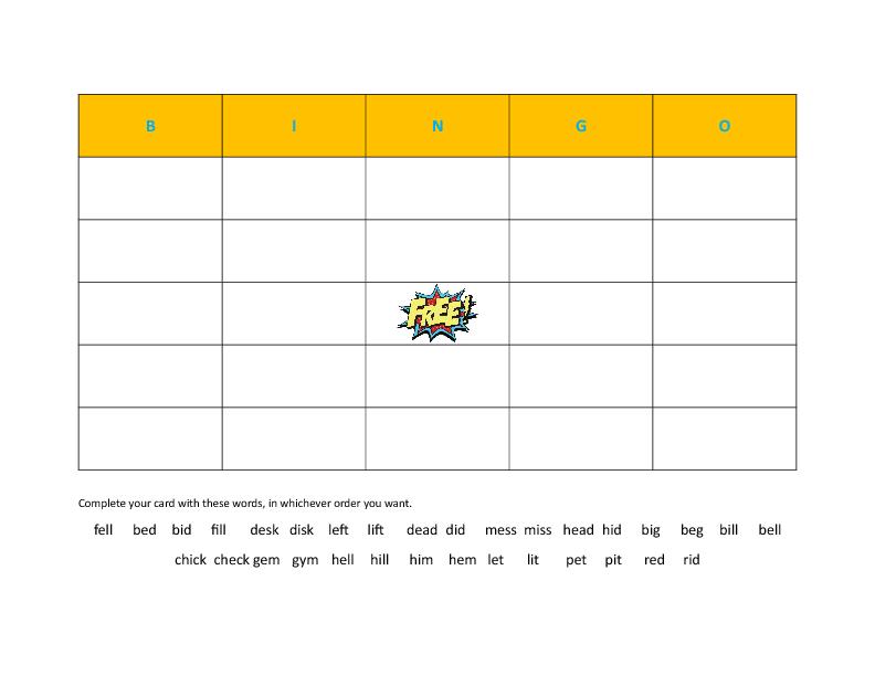 Pairs Bingo – Minimal Pairs Worksheets