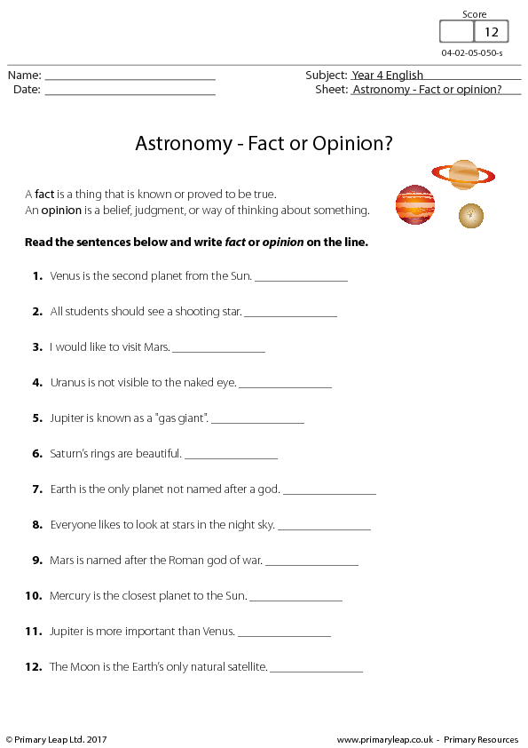 61 FREE Space Worksheets