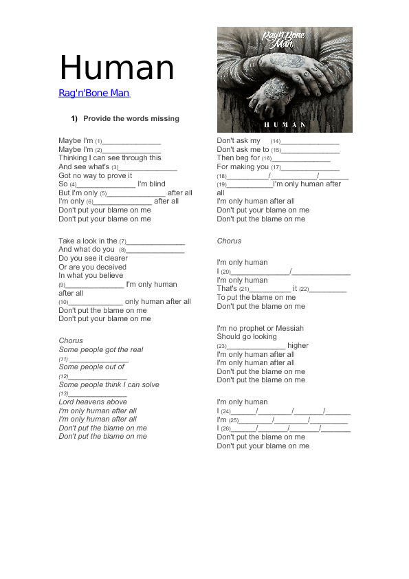 lyrics to human rag n bone man