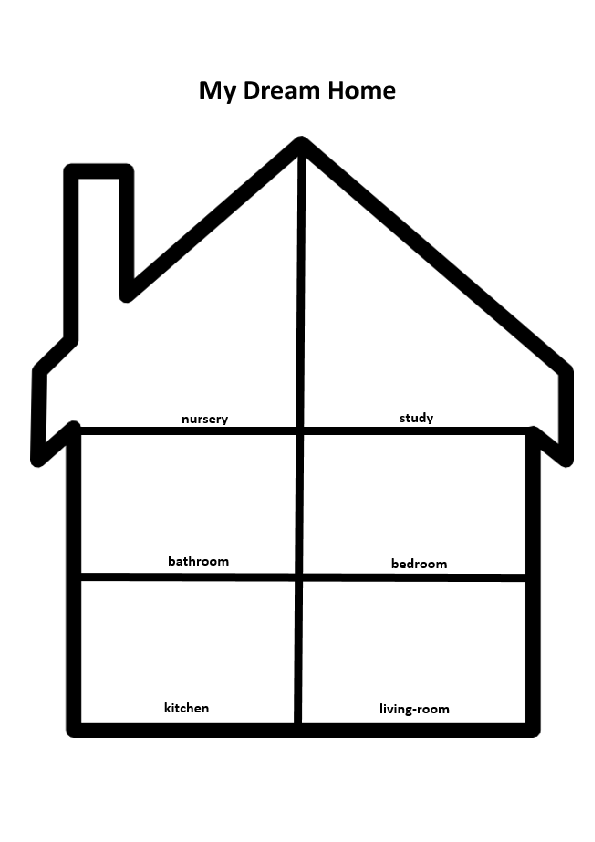271 free house flat rooms worksheets for My dream house drawing