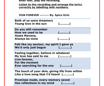 Song Worksheet Viva Forever By Spice Girls Past Simple