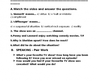 Movie Worksheet: Big Bang Theory