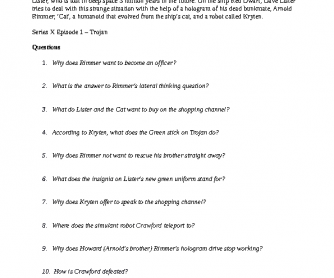 Movie Worksheet: Red Dwarf Lesson B2-C1
