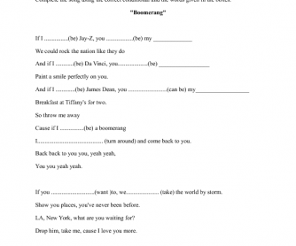 Song Worksheet: The Summer Set by Boomerang