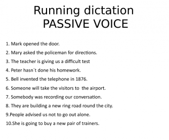 Passive Voice Running Dictation