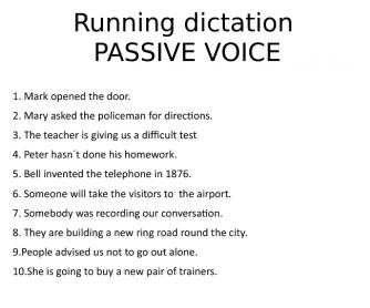 Passive Voice Running Dictation