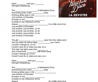 LA Devotee - Panic! @ the Disco Song Worksheet