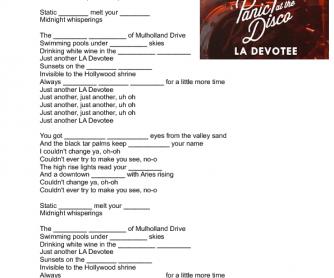 La Devotee Panic The Disco Song Worksheet