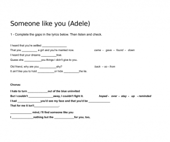 Song (Collocations) Worksheet: Someone Like You