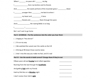 Song Worksheet: Castle on the Hill