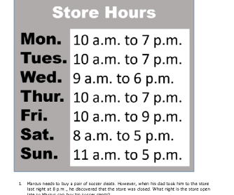 Real-Life Reading: Store Hours