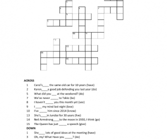 Crossword - Present Perfect and Simple Past