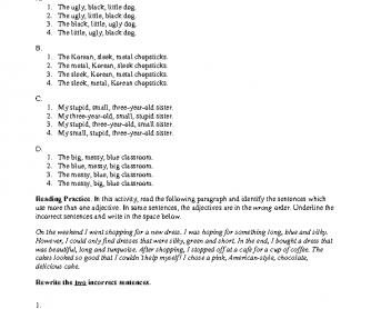Adjective Order - Practice 1