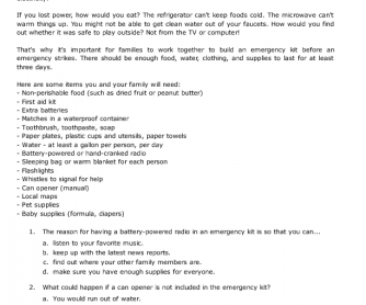 Reading Passage: Build an Emergency Kit